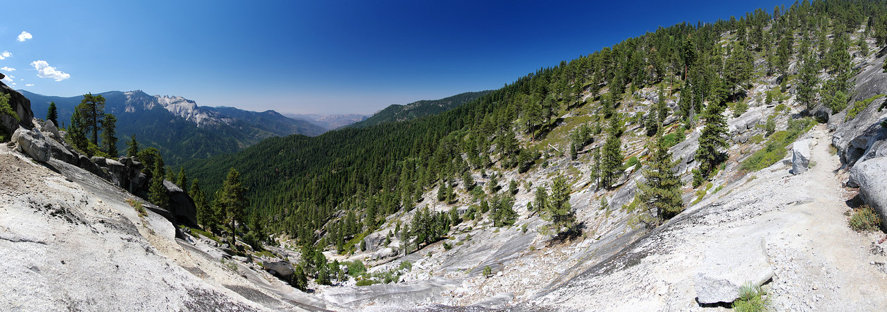 Looking down the mountainside where Mehrten Creek descentds from the High Sierra Trail