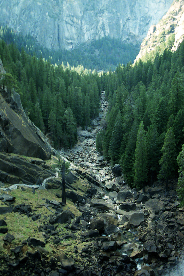 Looking down the Vernal Falls