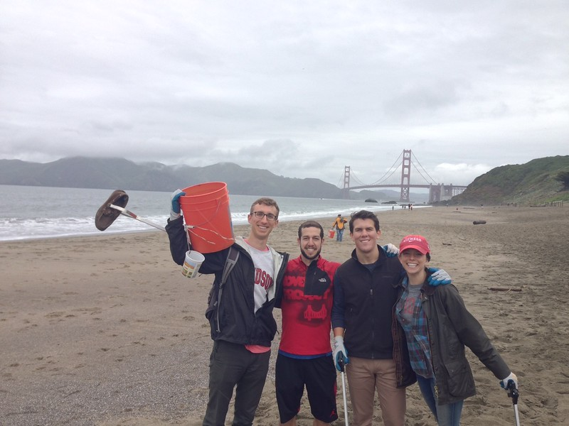 Members of the San Francisco chapter, including Scott Sellers '14, Josh Zipin '11 and Kate Ceremsak '12, volunteered with Surfrider Foundation to clean up Baker Beach on Sunday, April 10, 2016.