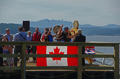 The ceremony is opened by drummers from the Sechelt first nation.
