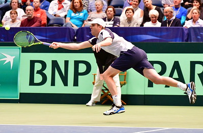 Action from a Davis Cup Match between Sam Querrey & Adrien Bossel on 2-5-2017 at Legacy Arena at the BJCC