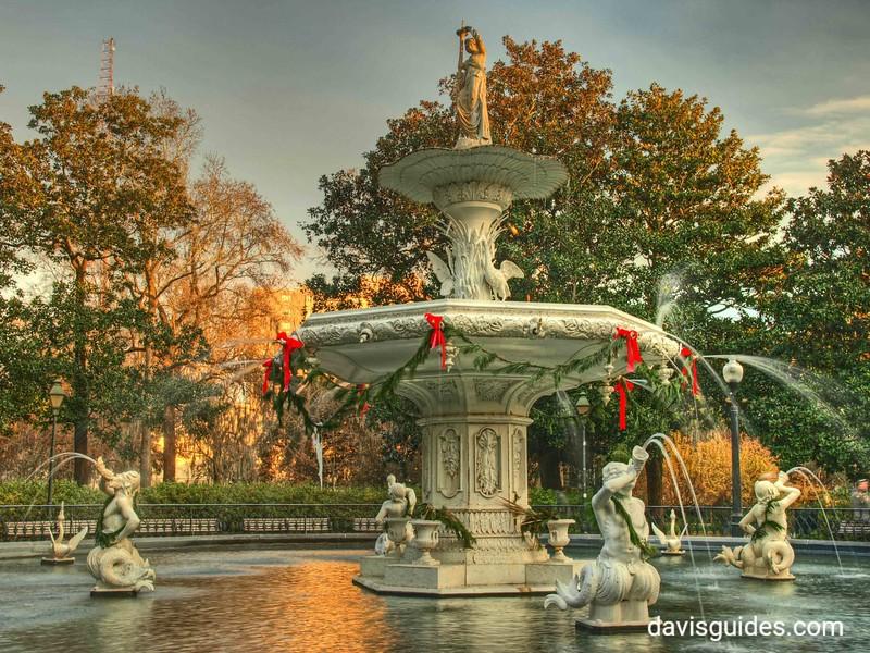 Forsyth Park Fountain at Christmas, Savannah