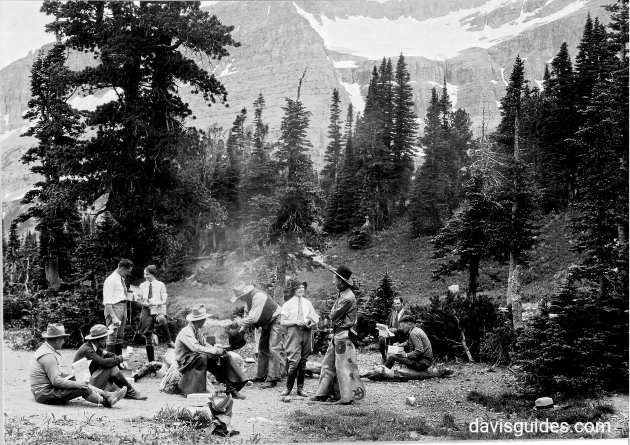 Group gathering at Piegan Pass, Glacier National Park, 1932