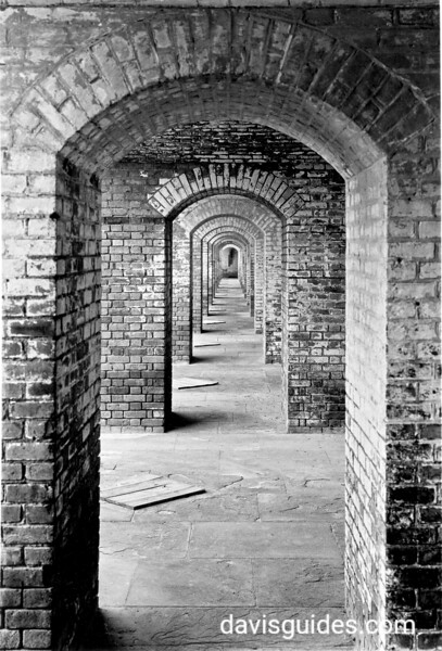 Brick arches in casements, Fort Jefferson, Dry Tortugas National Park, 1937