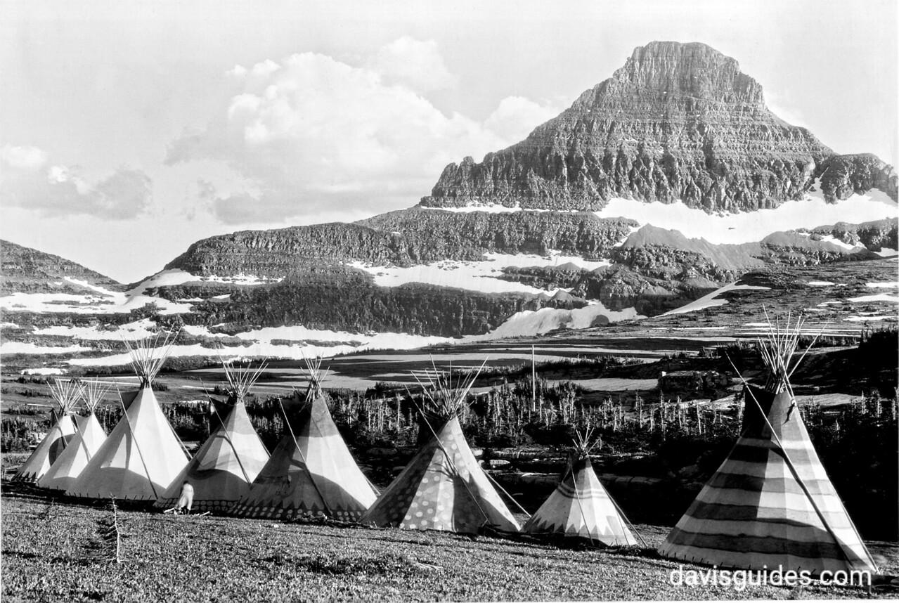 Blackfoot teepees near Logan Pass during the Going-to-the-Sun Road dedication, Glacier National Park, 1933