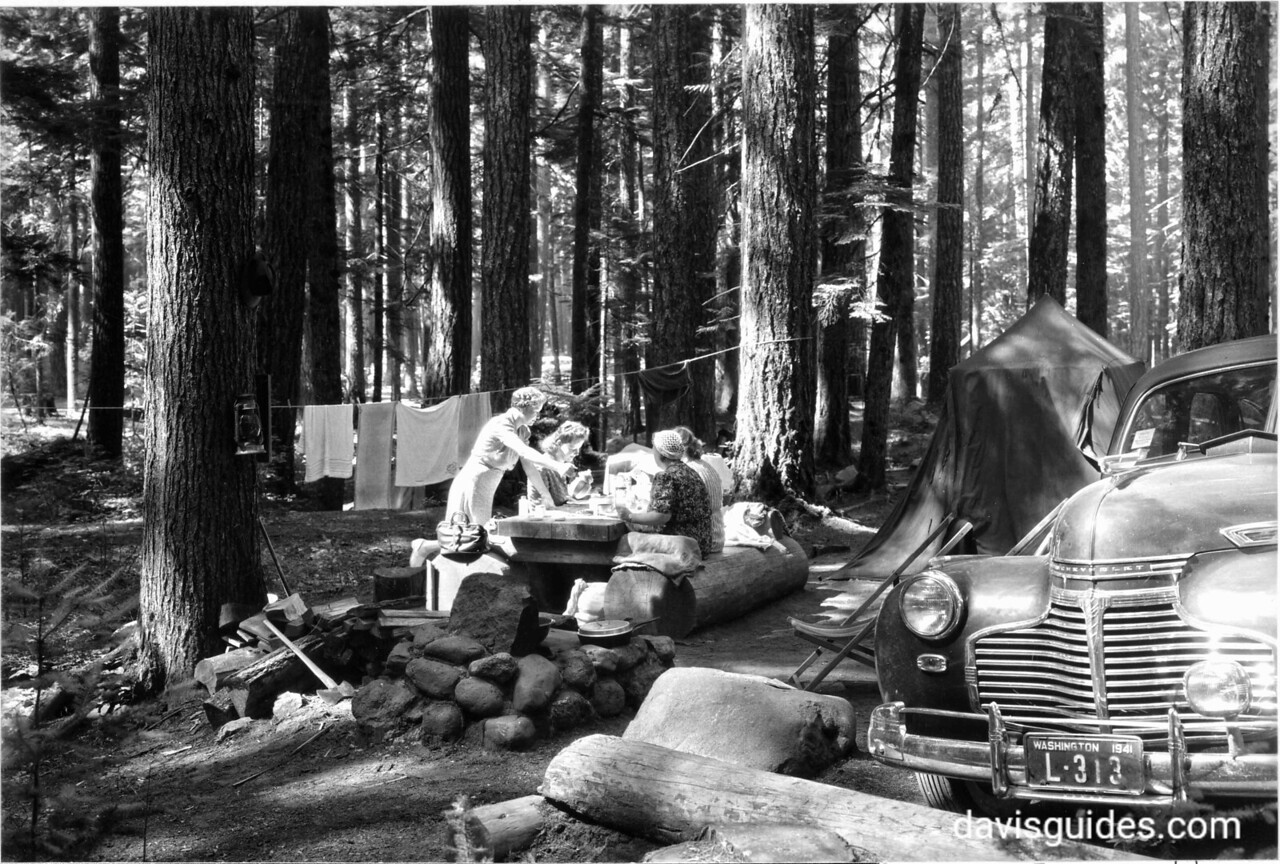 Breakfast at Ohanapecosh Springs Campground, Mount Rainier National Park, 1941