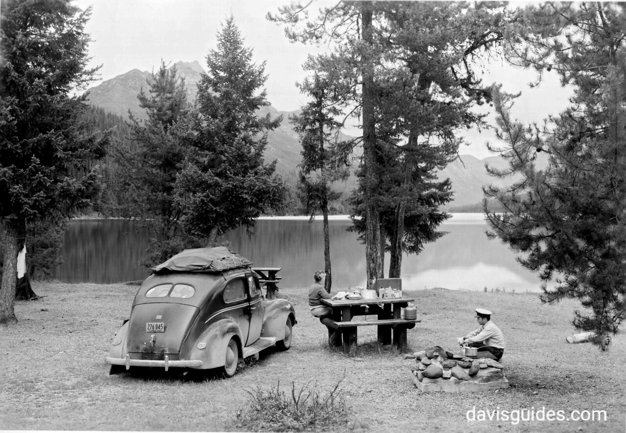 Car camping, Glacier National Park, 1948