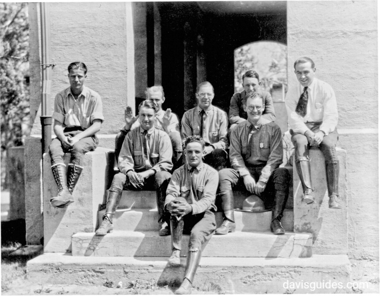 George Grant [seated second row on right] as a seasonal ranger at Yellowstone National Park, 19222
