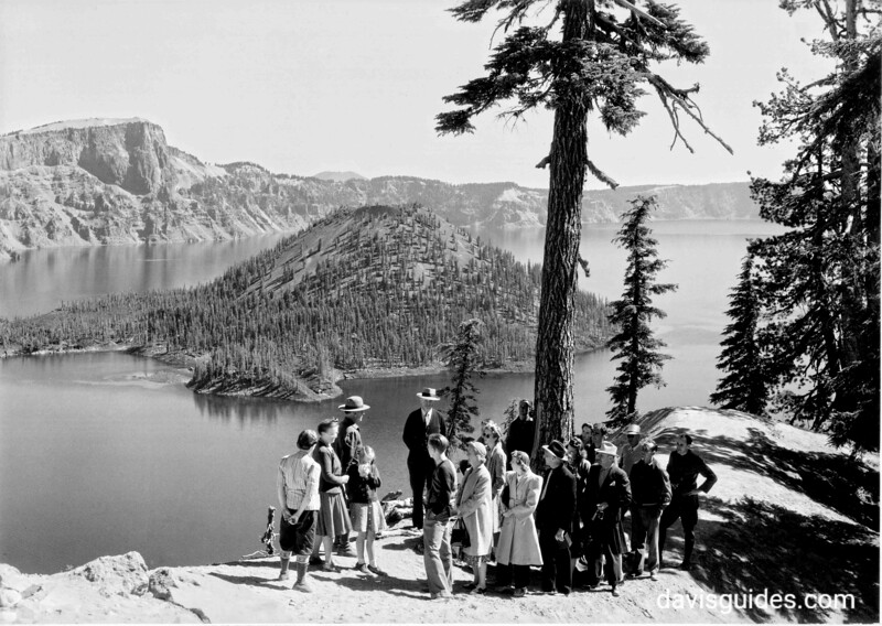 Naturalist guided tour at rim of lake, Crater Lake National Park, 1941