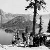 Naturalist guided tour at rim of lake, Crater Lake National Park, 1941