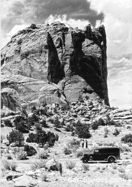 "Grand Gorge, Capitol Reef National Park, 1935 [George Grant's ""Hearse"" in the foreground]"