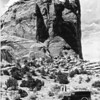 """Grand Gorge, Capitol Reef National Park, 1935 [George Grant's """"Hearse"""" in the foreground]"""