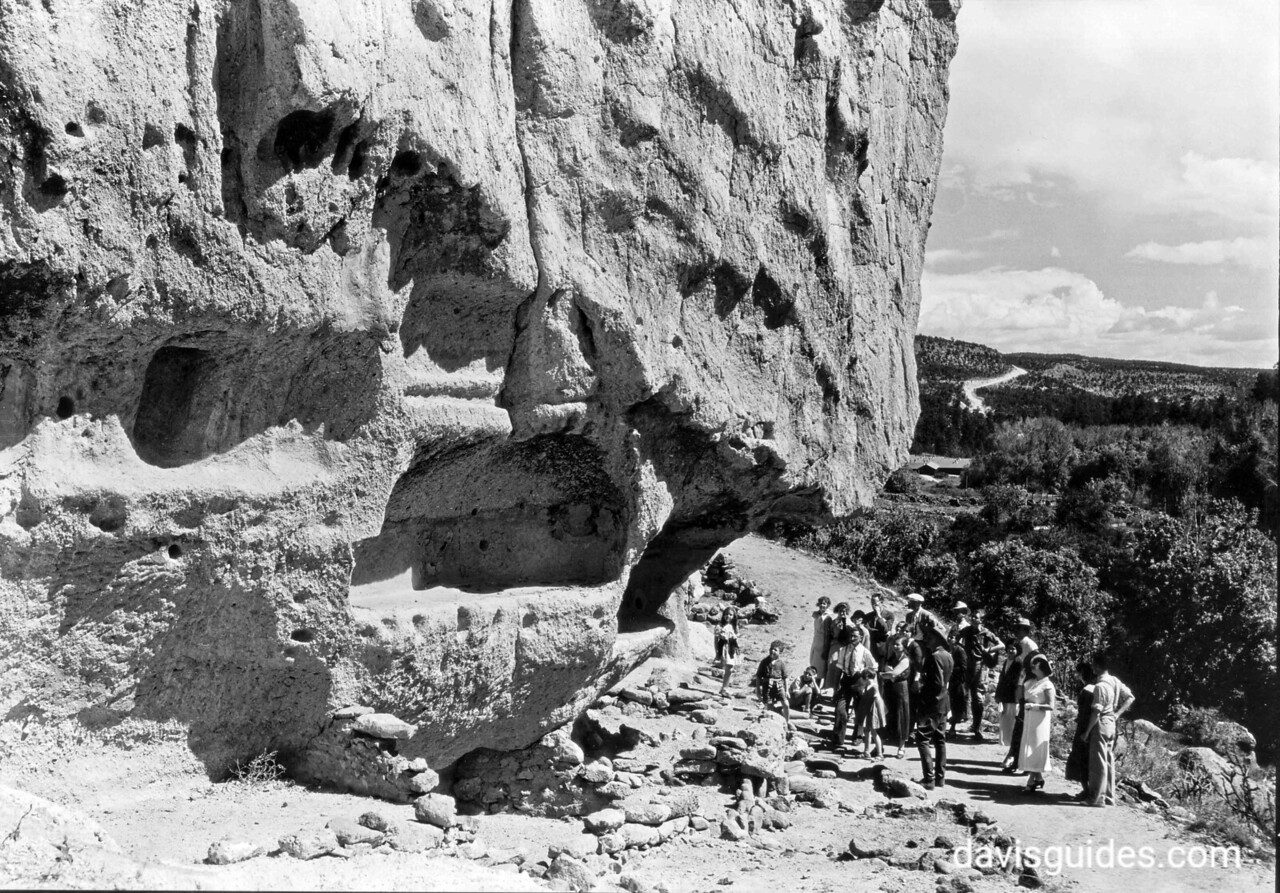 Naturalist with visitors in Frijoles Canyon, Bandelier National Monument, 1934