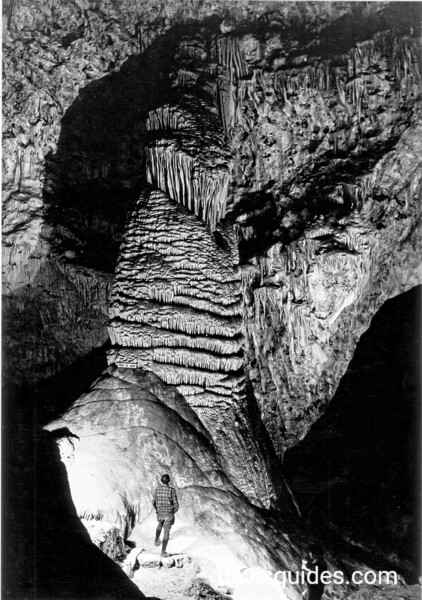 Visitor admires the Elephant's Ear in the Queen's Chamber, Carlsbad Caverns National Park, 1934