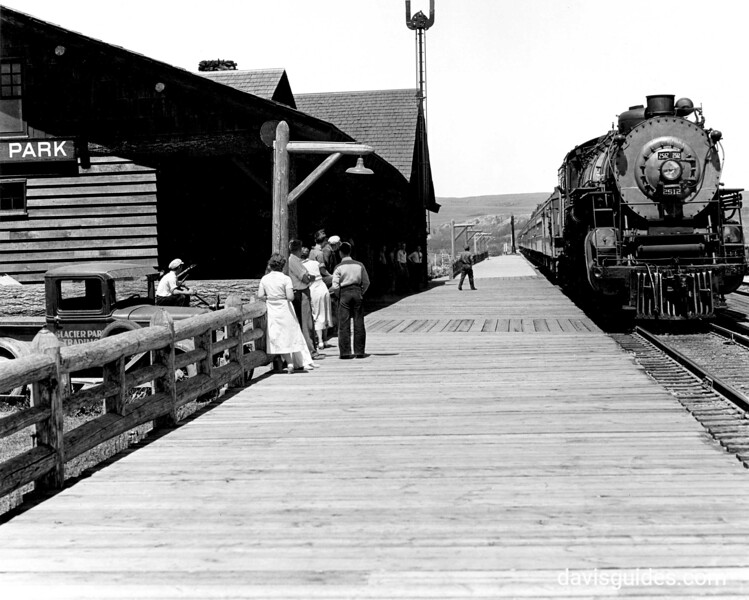 Empire Builder arriving at Glacier Park Station, Glacier National Park, 1933
