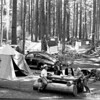 Visitors gather at Ohanapecosh Springs Campground, Mount Rainier National Park, 1941