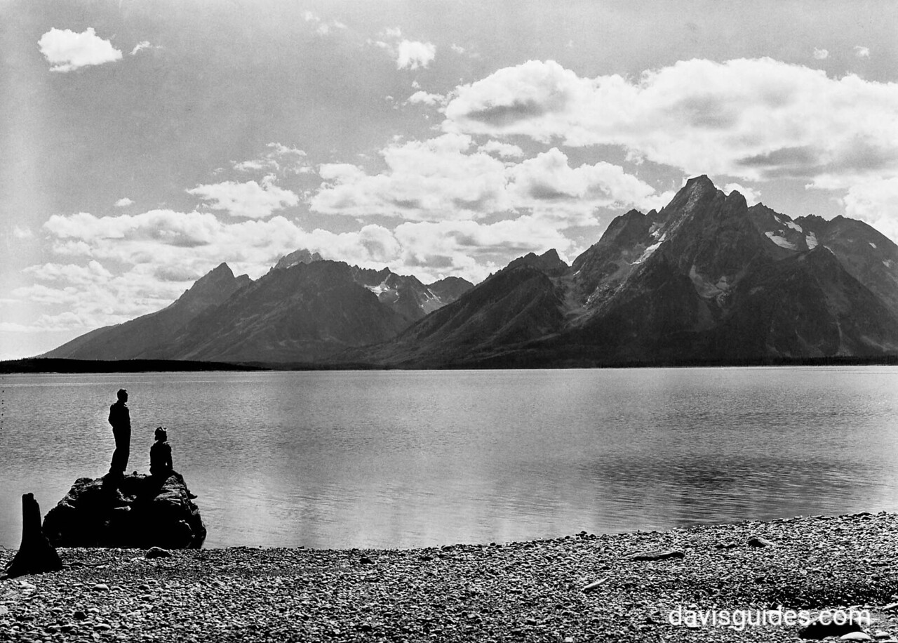 CCC enrollees admiring view of the Grand Tetons from shore of Jackson Lake, Grand Teton National Park, 1933