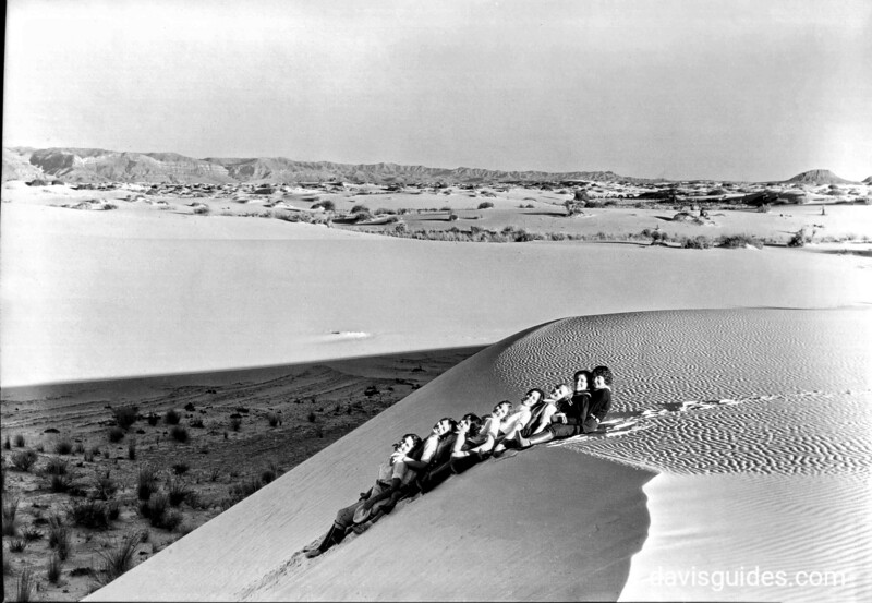 Sliding on sands of pure gypsum, White Sands National Monument, 1936