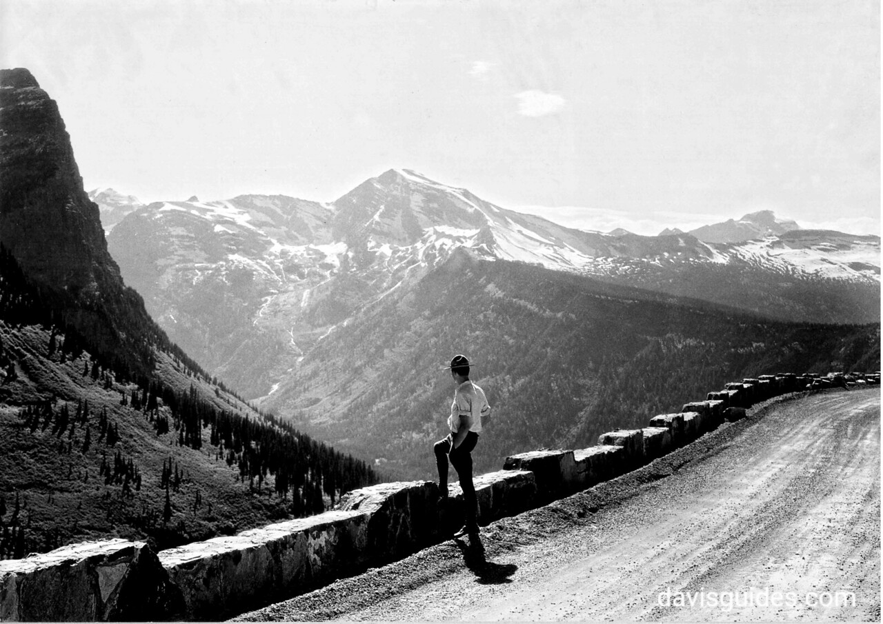 Ranger on Transmountain highway, Glacier National Park, 1932
