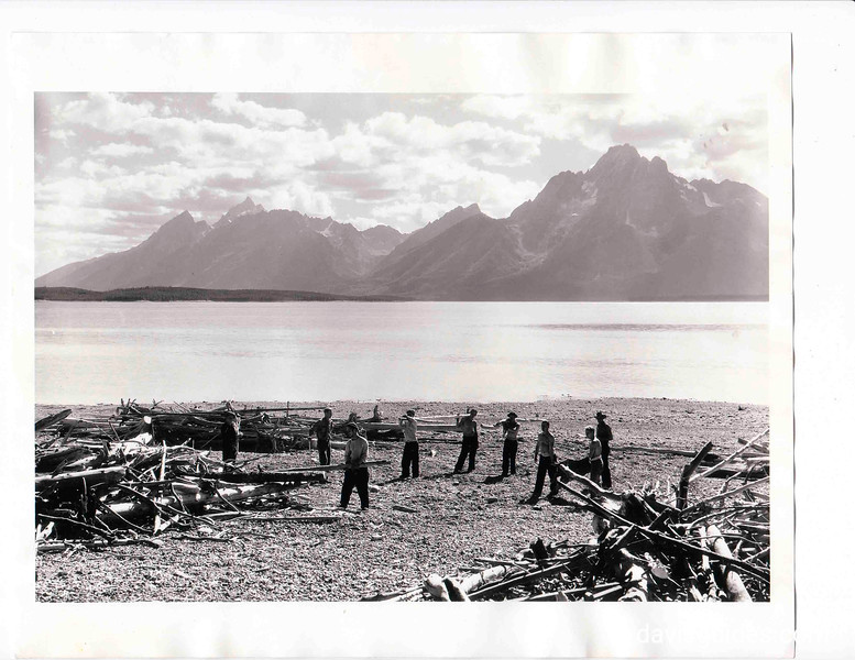 CCC workers clearing debris from Jenny Lake, Grand Teton National Park, Wyoming