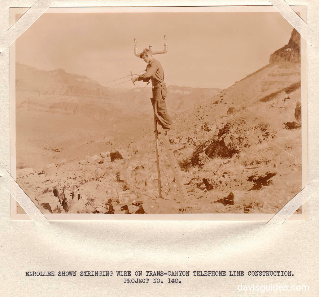 CCC enrollee stringing telephone wire across the Grand Canyon, Grand Canyon National Park, Arizona