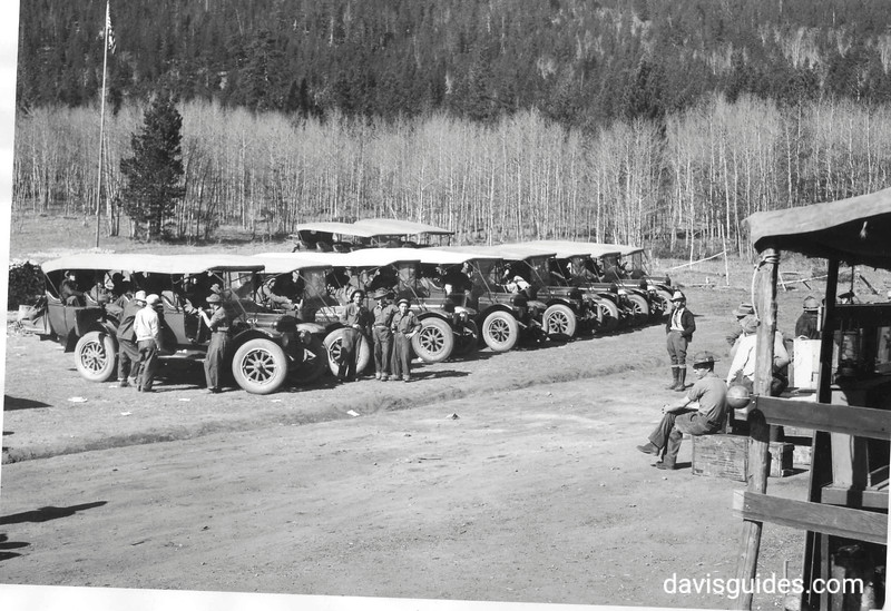 CCC enrollees traveling to work on tourist buses, Rocky Mountain National Park, Colorado