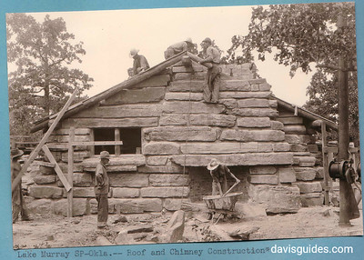 Constructing a field stone cottage, Lake Murray State Park, Oklahoma