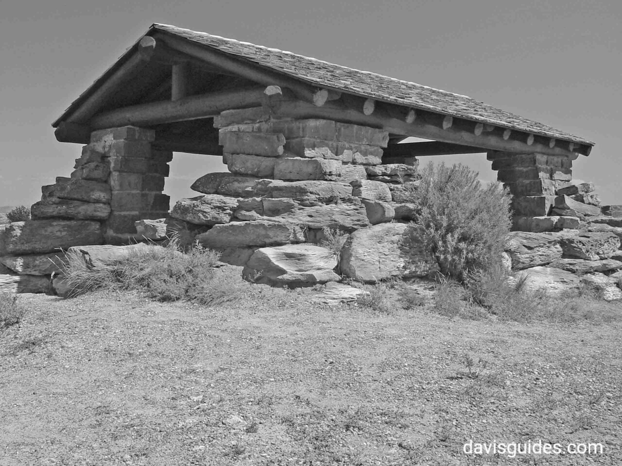 Rough hewn stone shelter above the Little Missouri River, Theodore Roosevelt National Park, North Dakota