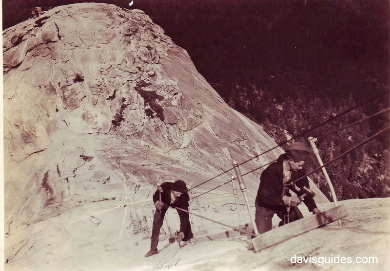 CCC enrollees installing climbing cables on Half Dome, Yosemite National Park