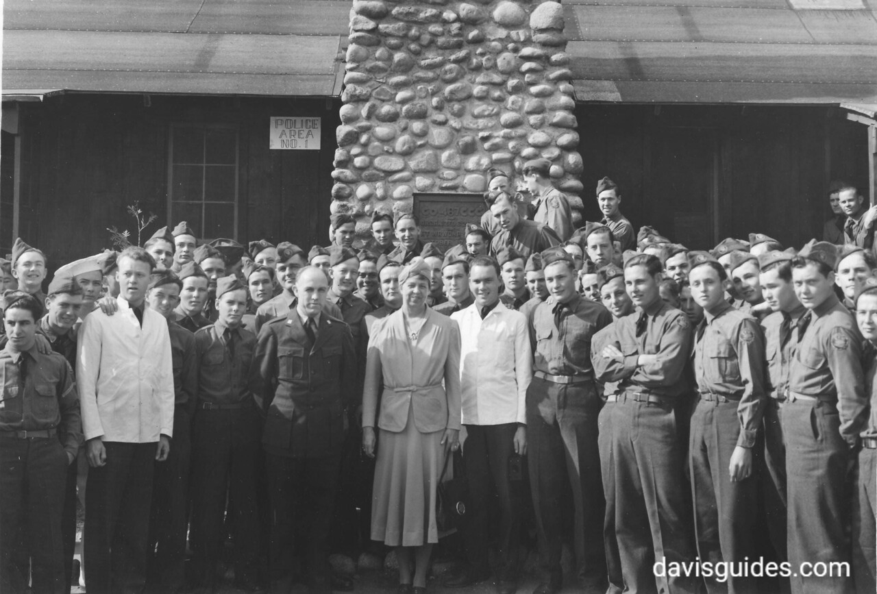 First Lady Eleanor Roosevelt visits CCC enrolles at Camp Wawona, Yosemite National Park, California