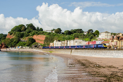 43071 leads with 43180 on the rear of the 1A78 06:50 Penzance to Paddington as it approaches Dawlish