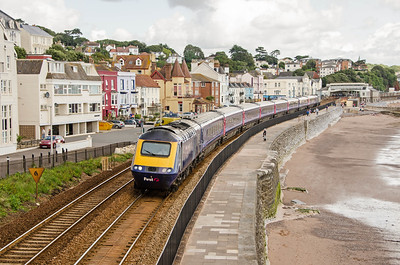 43004 leads 43079 on the 1C75 08:35 Paddington to Paignton away from Dawlish
