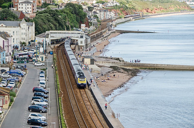 43128, leading, with 43182 on the rear, heads the 1C83 12:35 Paddington to Paignton away from Dawlish