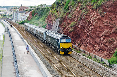 "57606 ""Totnes Castle"" heads the 2E75 13:35 Plymouth to Exeter away from Dawlish"
