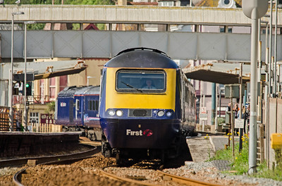 43168 leads with 43034 on the rear of the 1A79 07:18 Penzance to Paddington as it passes through Dawlish