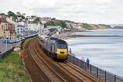 43378, leading, with 43301 on the rear as the late running 1V52 06:01 Glasgow to Paignton heads away from the Dawlish stop. The following train can be seen near Langstone Rock.