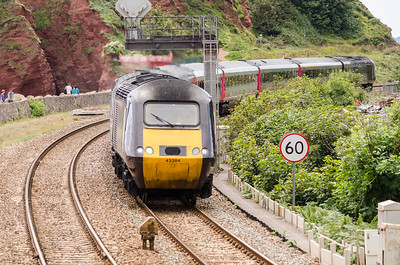 43384 leads 43357 past Langstone Rock with the 1S51 12:35 Paignton to Glasgow