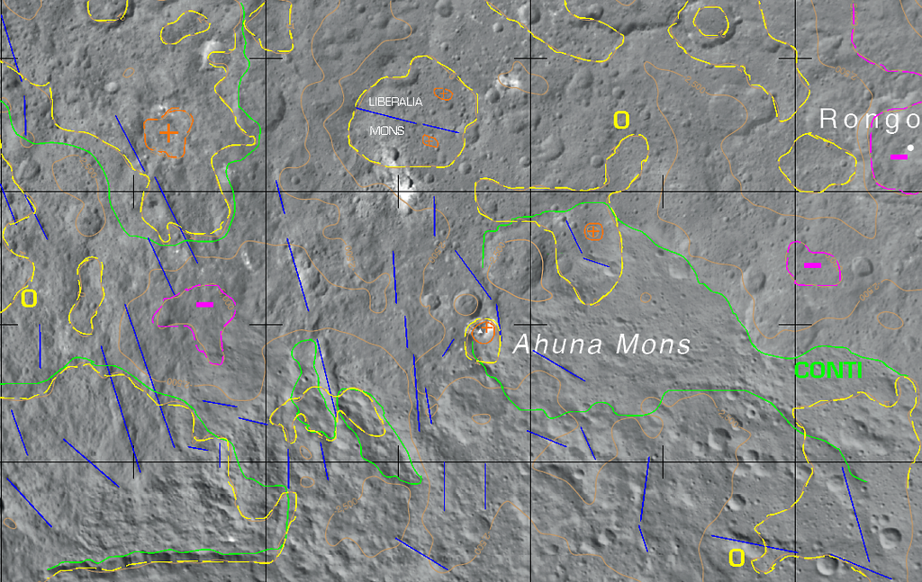 General topography and structure of the Ahuna Mons-Liberalia Mons region