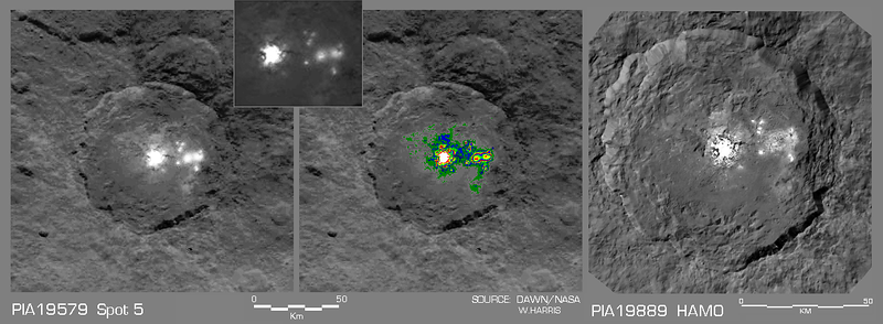 "Comparison between an early Survey Orbit image of the ""Occator Spot"" and the first public HAMO image of this feature"