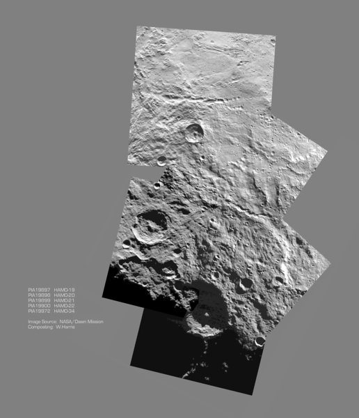 Montage of Images  between Urvara and Yalode Craters