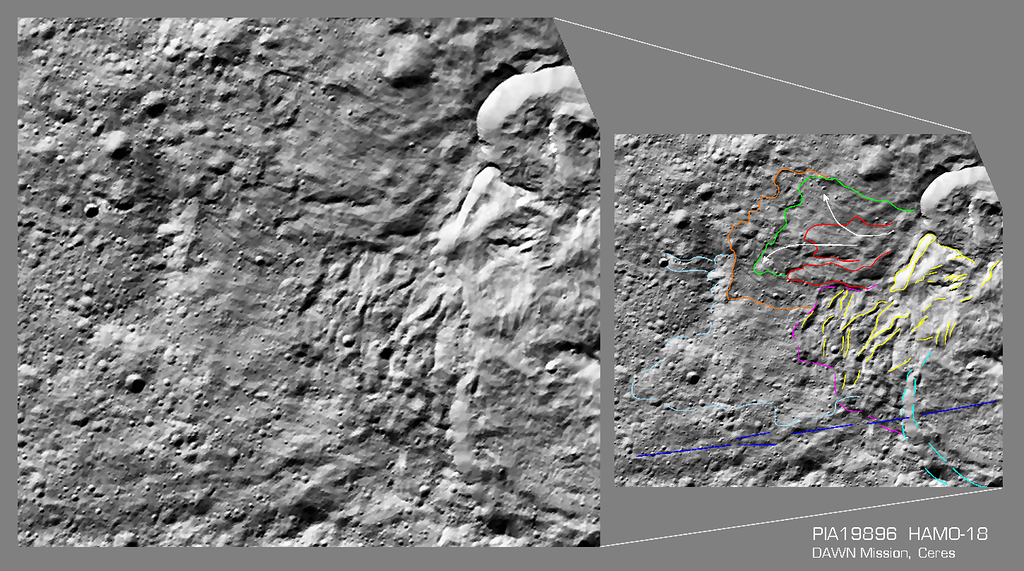 An annotated view of another peculiar slump feature from the PIA19896 HAMO-18 image.