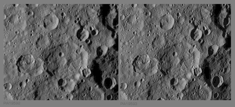 Stereo view of a  peculiar flowage (slump) in SO-24, -25