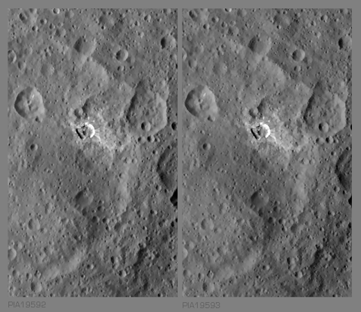 Stereo view of a  peculiar crater and fracture with associated Facula and Maculae in SO-24, -25