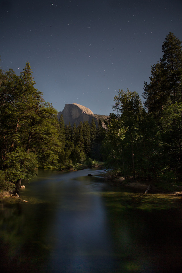 Half Dome by light of Full Moon