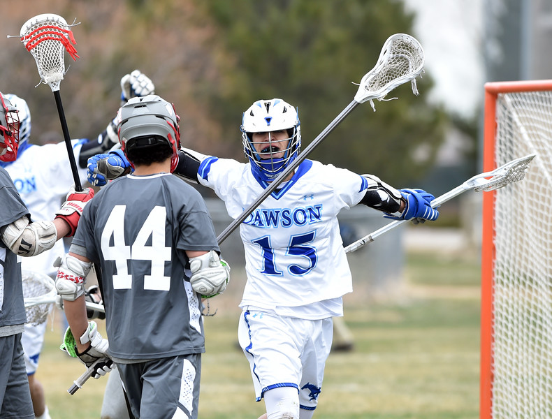 "Dawson's Jesse Rosenblatt cheers after scoring a goal  against Fairview during Thursday's game at Alexander Dawson.<br /> <br /> More photos:  <a href=""http://www.BoCoPreps.com"">http://www.BoCoPreps.com</a><br /> David R. Jennings/Staff Photographer<br /> March 26, 2016"