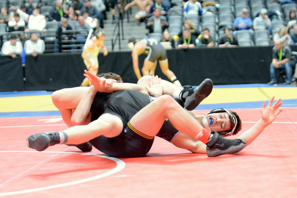 . Thompson Valley\'s Chase Engelhardt has Ben Therin of Vista Ridge all tied up for near-fall points on his way to a 16-1 technical fall in their 160-pound match at the 4A state wrestling tournament Thursday at the Pepsi Center in Denver. (Mike Brohard/Loveland Reporter-Herald)
