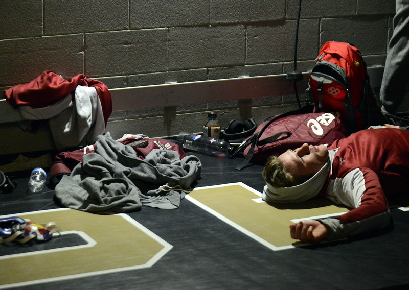 Berthoud's Brock Johnson relaxes before his 3A 170-pound third-place match on Saturday at the state wrestling tournament at the Pepsi Center in Denver. (Mike Brohard/Loveland Reporter-Herald)
