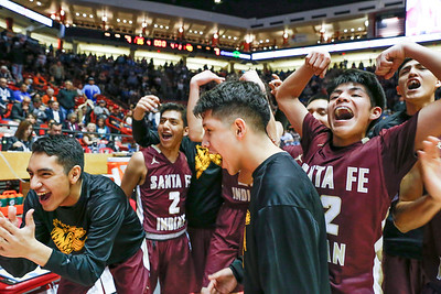 Santa Fe Indian School's Varsity basketball team faces off aginst St.Michaels during their 3A semifinal game  at The Pit on March 15, 2019. Santa Fe Indian School beat St. Michael's 48-35.  Gabriela Campos/The  New Mexican