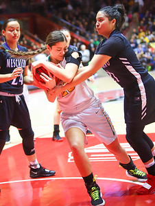 The Pecos Varsity Girls basketball faces off against Mescalero Apache for the 2A Championship game at The Pit on March 15, 2019. Pecos beat Mescalero Apache 53-46 in overtime.   Gabriela Campos/The  New Mexican