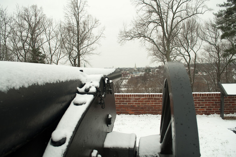 This cannon looks like it is aimed at Fredericksburg Baptist Church (spire in distance).  The church was used as a hospital during the war and was heavily damaged by artillery fire.